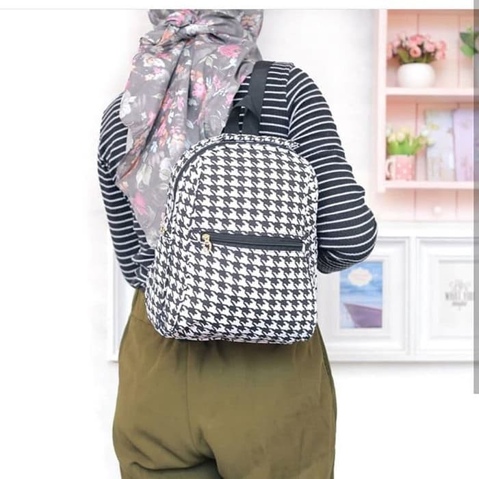 HIGH QUALITY Mini Ransel Motif Houndstooth Backpacks Kanvas