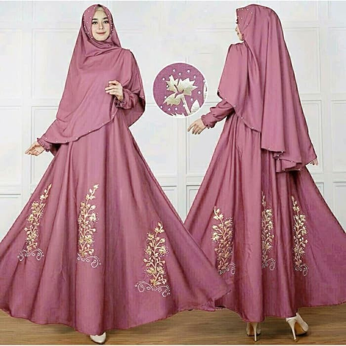 Jual Baju Atasan Gamis Wanita Muslim Syari Zanet Dress Pesta