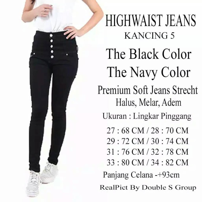 Celana Jeans Wanita High Waist Kancing 5