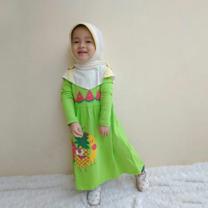 Jual Dress Anak Baju Muslim Gamis Anak Perempuan Bahan Kaos Murah