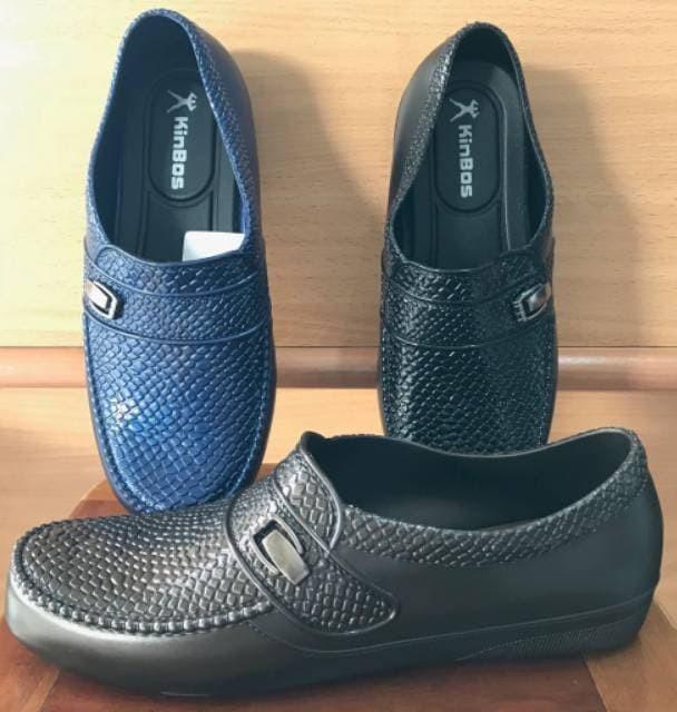 sendal Sepatu Slip on Pria Kinbos Motif Kulit jeruk| Sepatu Hujan