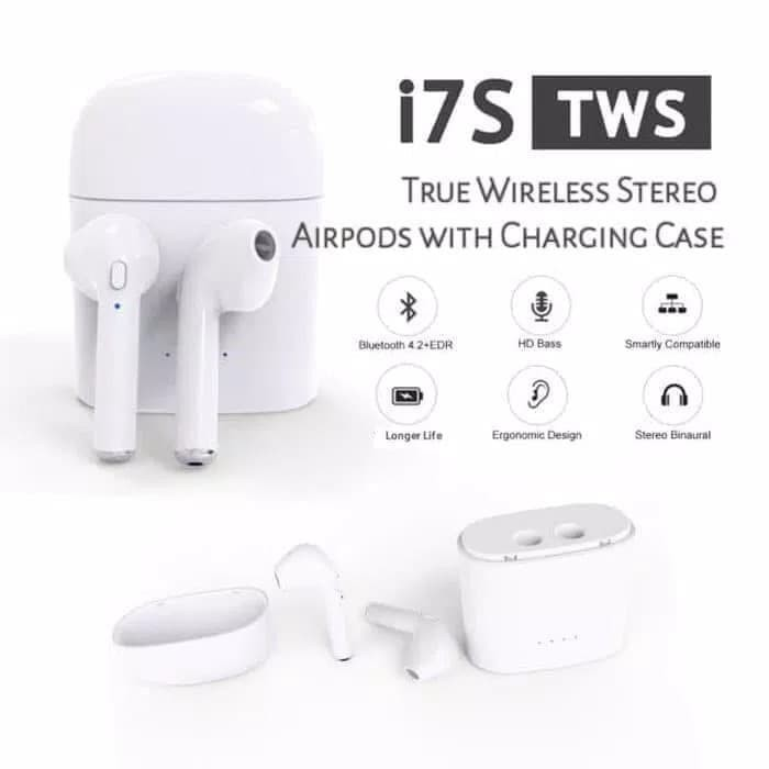 harga Headset bluetooth i7s tws - handsfree mic wireles apple i7s tws -white Tokopedia.com