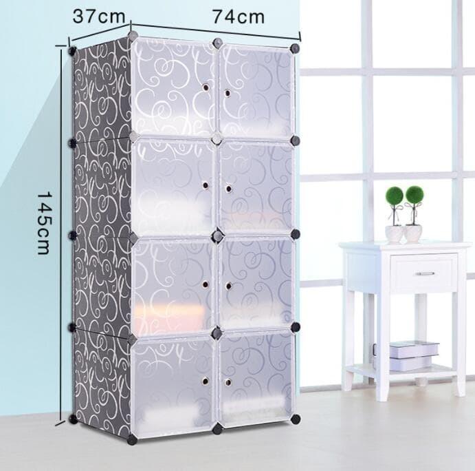 Foto Produk Lemari plastik rak buku lemari anak bayi rak tas 8 pintu/susun/kotak - Hitam dari SHOP AYU