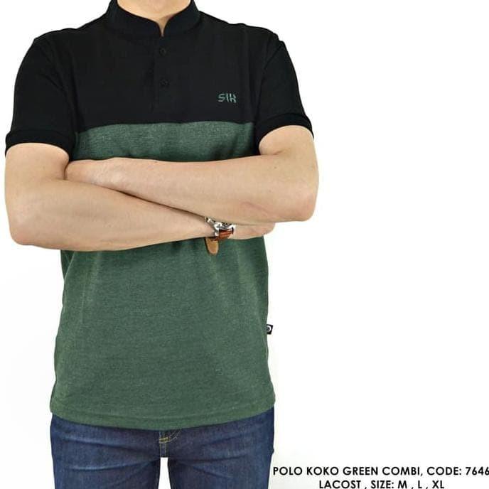 New Produk Baju Polo Kerah Koko Hitam Kombinasi Polos Polosan Cowok