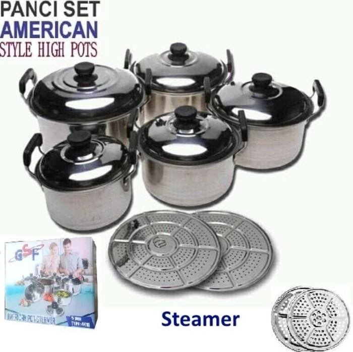 jual Panci Set 5 Pcs american style high pots Stainless. cookware set