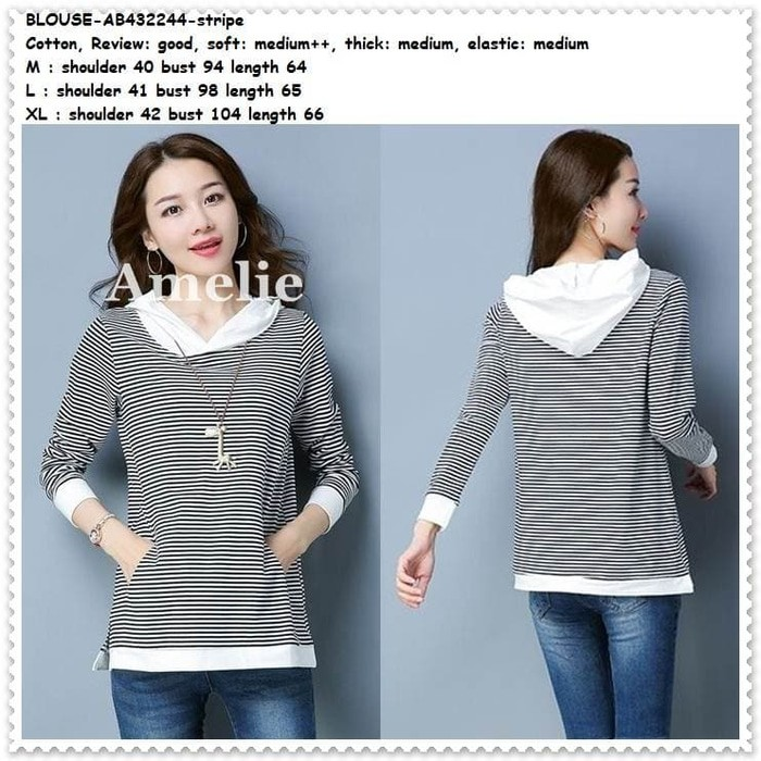 Jual Baju Atasan Blouse Sweater Hoodie Wanita Garis Korea Import ... 363e14b7e7
