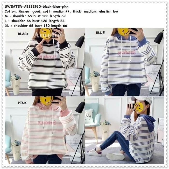 Jual Baju Sweater Kaos Hoodie Wanita Korea Import AB232910 Blue Pink ... cc568a281d