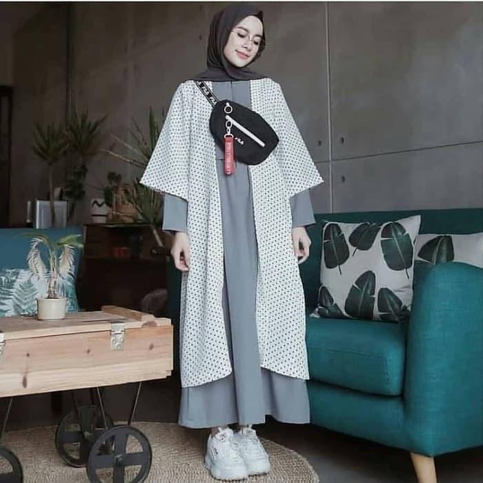 Gamis modern KINARA POLKA MAXI DRESS GAUN REMAJA hijab modern