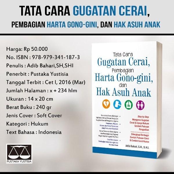 Jual Tata Cara Gugatan Cerai Pembagian Harta Gono Gini Dan Hak Asuh Anak Kab Sleman Tokobuku Nusantara Prima Tokopedia