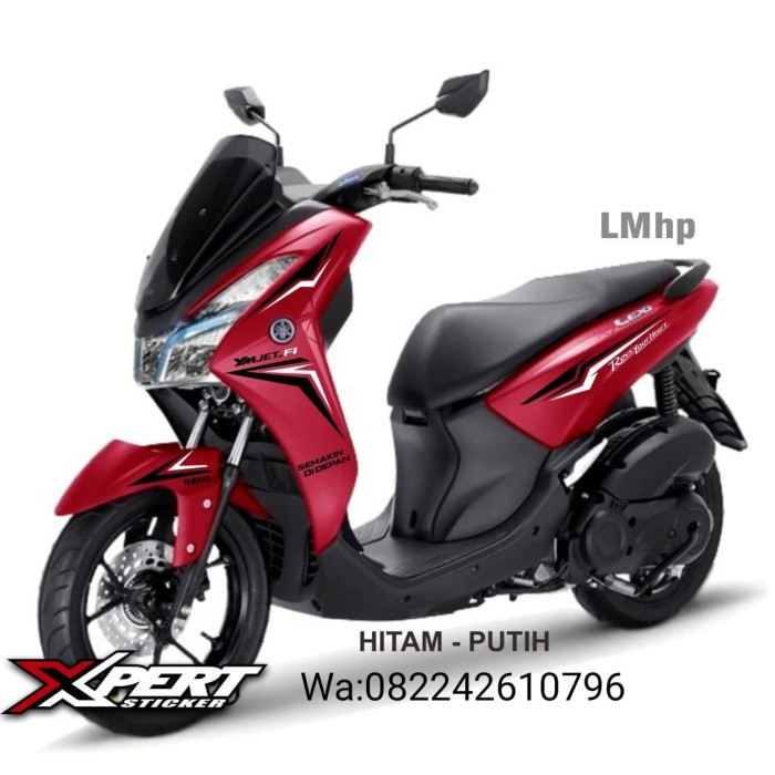 Foto Produk Striping Cutting Yamaha Lexi merah Sporty Hitam Putih dari StickerArt