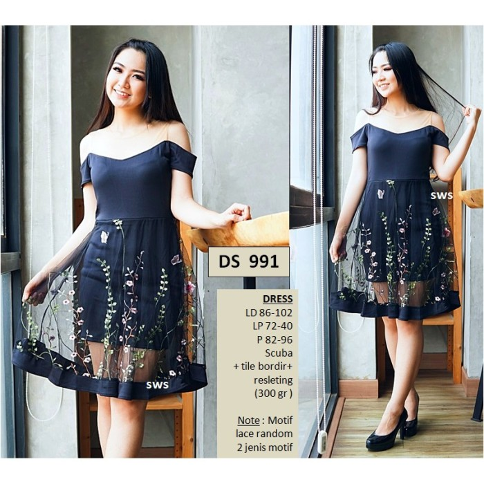 7727db687b89 Jual SEDS991 DRESS PESTA SABRINA MIDI FLARE TILE BORDIR IMPORT MURAH ...