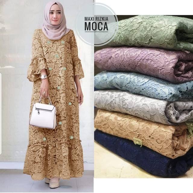 harga Dress maxi brokat bunga mocca cantik Tokopedia.com