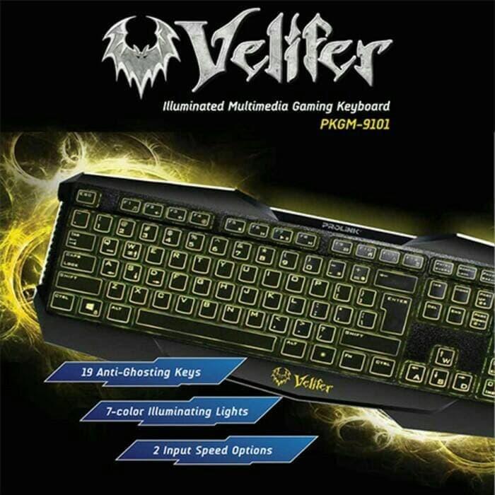 d68509fefbd PROLINK PKGM9101 Veliver 7Color Illuminated Multimedia Gaming Keyboard