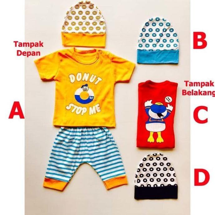 New Produk Baju Bayi Laki Laki Setelan Bayi Lucu Topi - Donald Donut