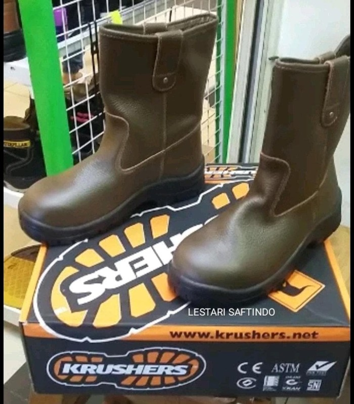 READY SAFETY SHOES KRUSHERS TEXAS BROWN COKLAT !