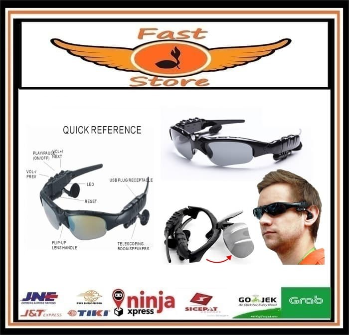 harga Kaca mata earphone mp3 sunglasses with bluetooth kacamata murah audio Tokopedia.com