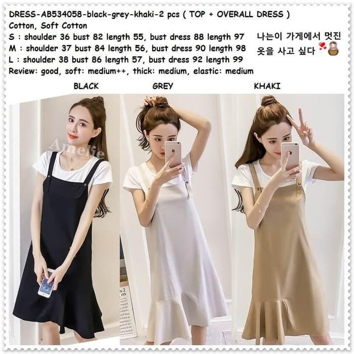 35093c9303 Jual Setelan Baju Overall Mini Dress Jumpsuit Wanita Korea Import ...