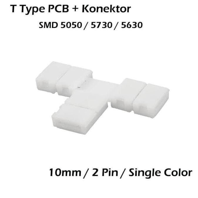 Sale Konektor Klip Pcb T Led Strip Smd 5050 / 5730 10Mm 2 Pin Model T