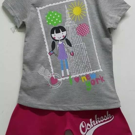 Setelan Kaos Oshkosh Anak Perempuan New York 7-10 / Kaos Anak Murah