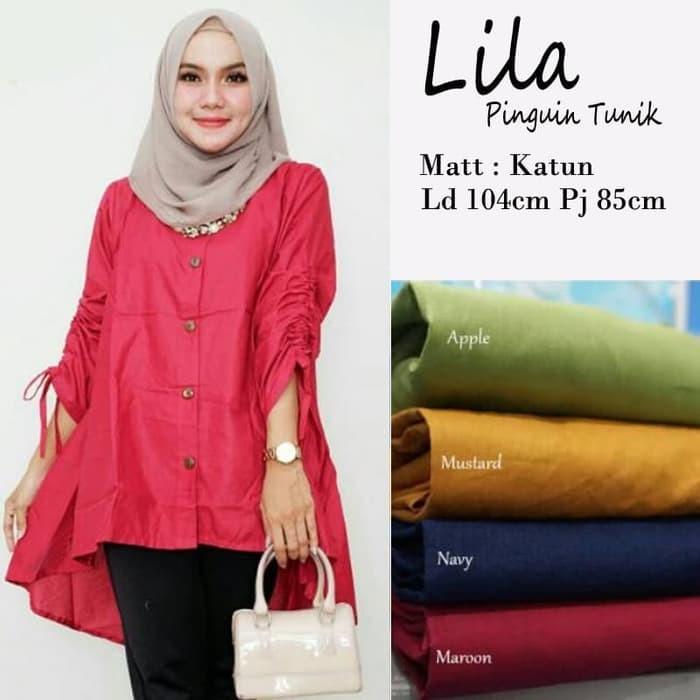 Baju Atasan Wanita Clove Blouse Tunik Baju Muslim Blus Muslim - Pink