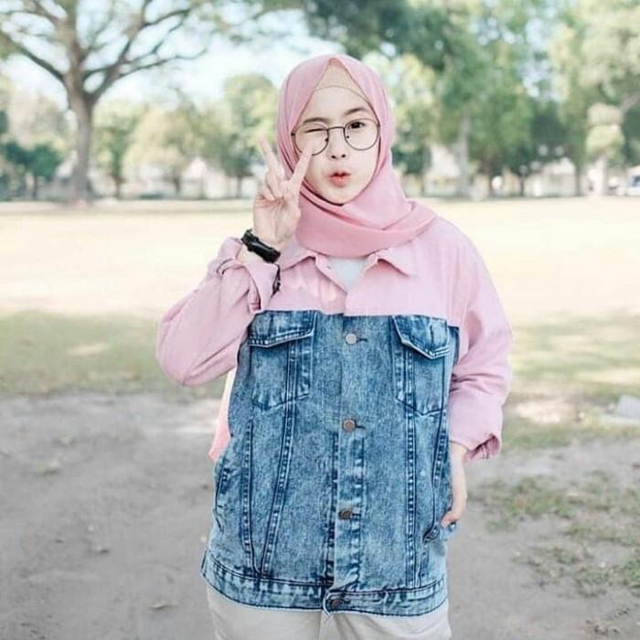TERLARIS Jaket Denim Wanita Murah TERBARU Oversize Two Tone Pink - Cokelat  Muda 3cf4739517