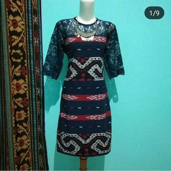 Jual Dress Tenun Toraja Navi Kombinasi Brokat Elegan Kab Jepara Baju Dan Kain Tenun Tokopedia