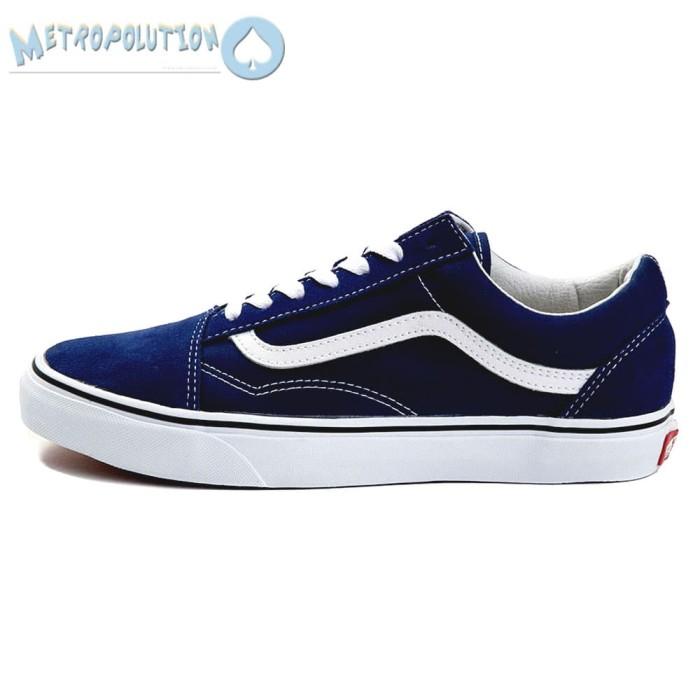... harga Sepatu vans old skool classic skate suede premium quality biru navy Tokopedia.com