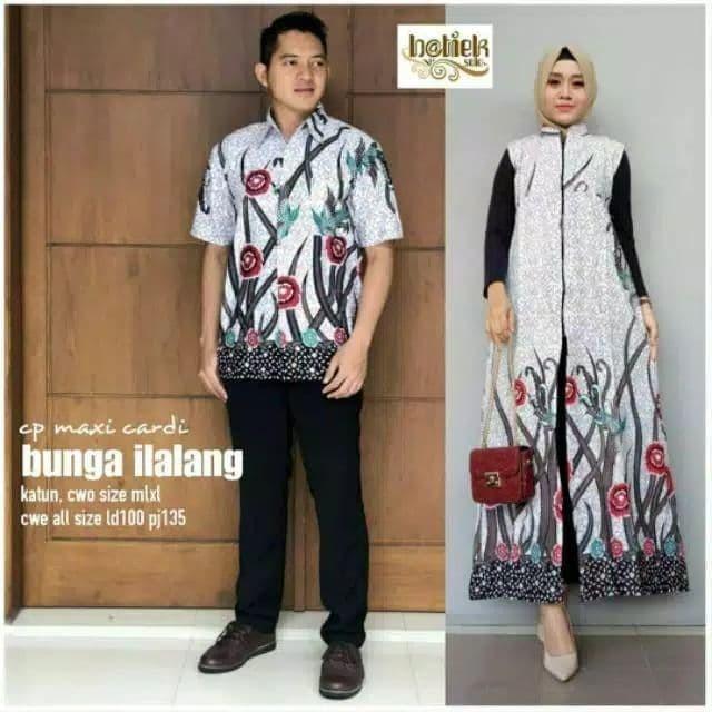 Sarimbit Outerwear Cardigan Panjang Batik Couple Keluarga Modern