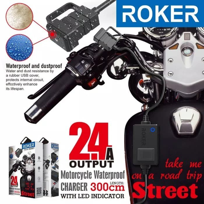 harga Charger motor roker street 2.4a waterproof casan hp aki motor led ligh Tokopedia.com