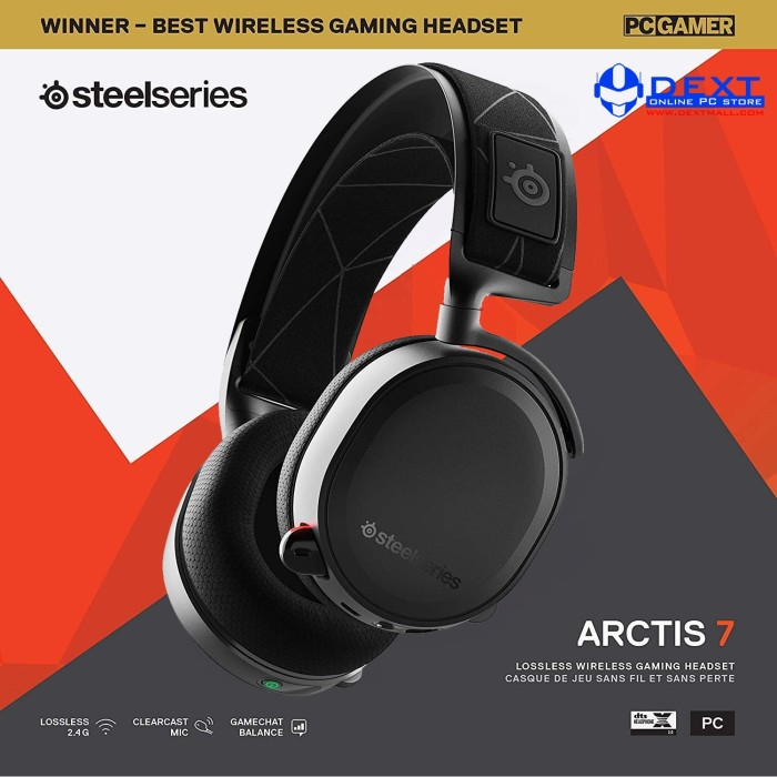 Foto Produk SteelSeries Arctis 7 with 7.1 DTS Headphone:X Black Wireless dari DextMall