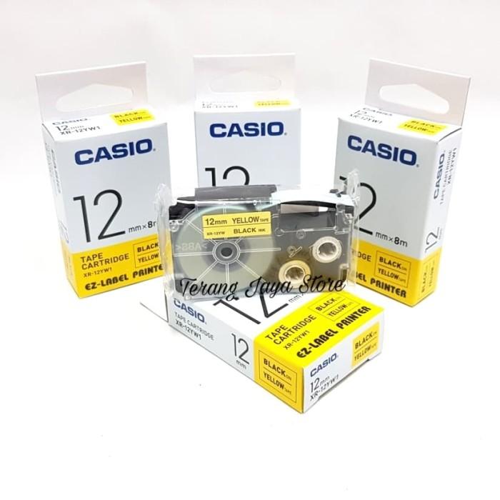 harga Casio ez-label printer black ink yellow xr-12yw1/label casio 12mm(ori) Tokopedia.com