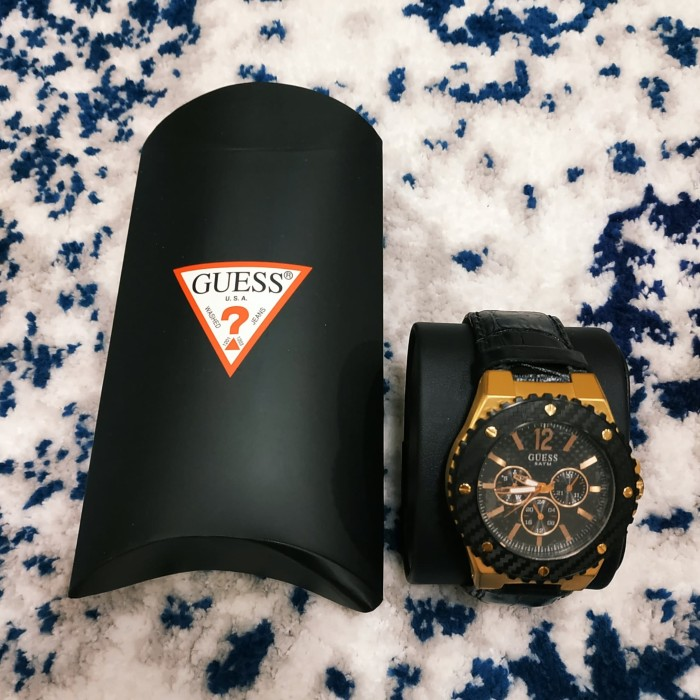 Jam Tangan Guess Carbon Gold Croco Strap
