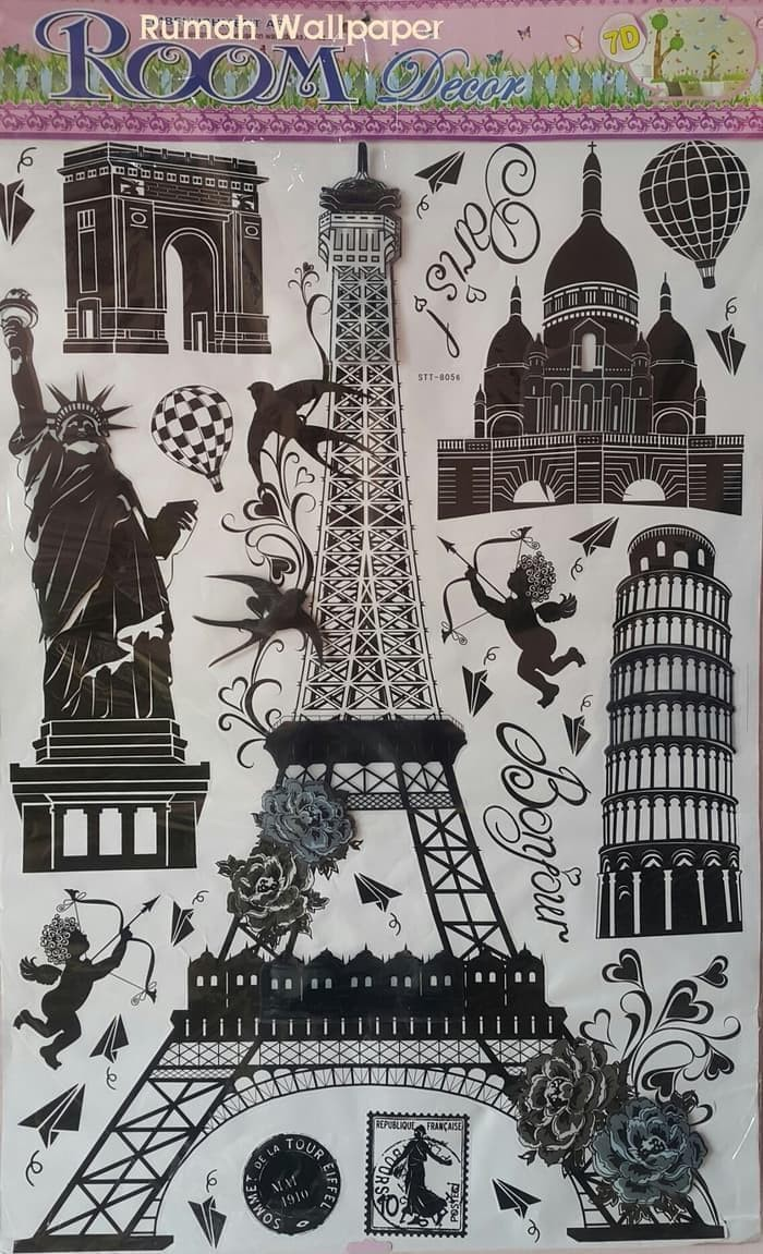 Jual STIKER DINDING WALL STICKERS WALLPAPER 3D PARIS NEW YORK PISA 60X90 Jakarta Barat KW Premium Shoes