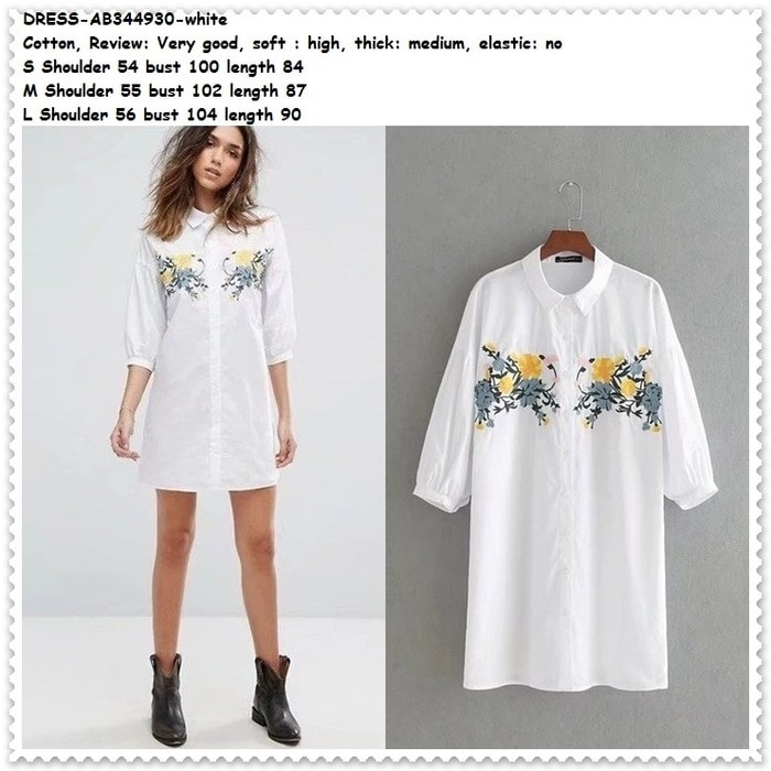 Mini Dress Kemeja Kerja Putih White Blouse Bordir Katun Korea Import
