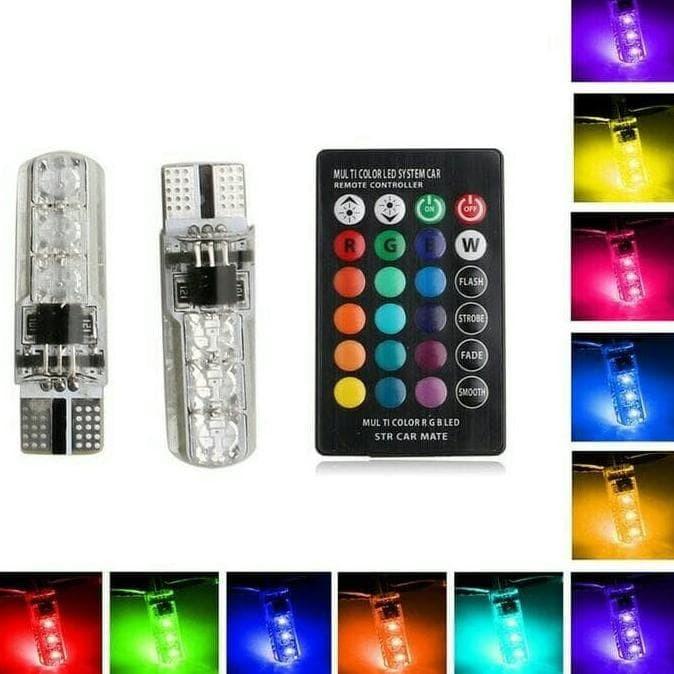 Dijual 2Pc Lampu Senja Led Rgb T10 5050 Smd 16 Warna Motor Dan Mobil