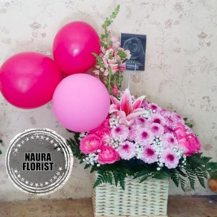 Jual Rangkaian Bunga Mawar Pink Kado Bunga Ultah Mawar Pink