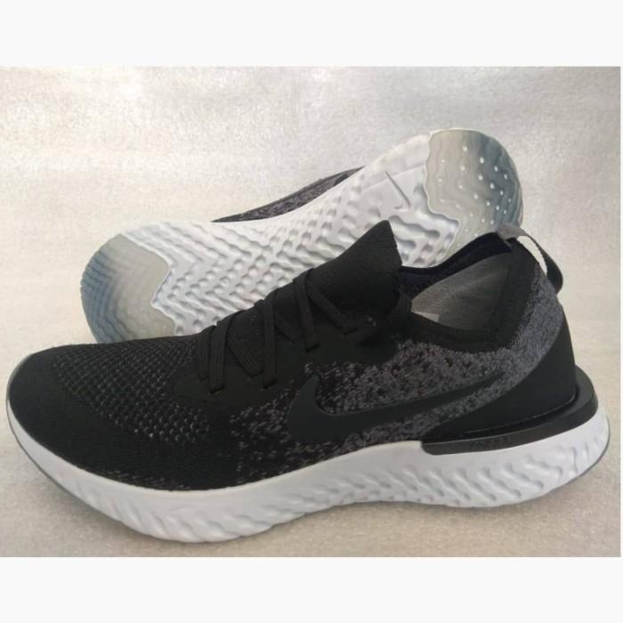 1370f664c3e0 Jual sepatu Nike Epic React Flyknit Black White PREMIUM Gym sekolah ...