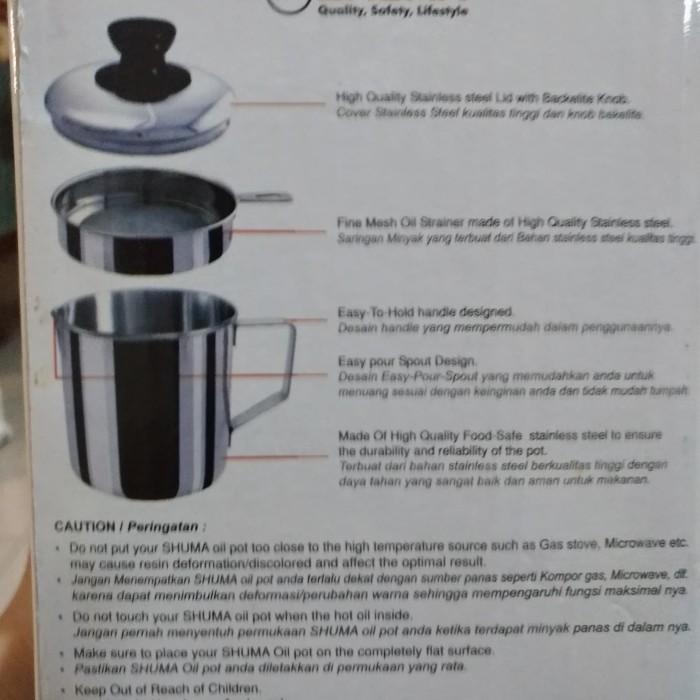 SHUMA Oil Pot Saringan Minyak Tempat Simpan Wadah Stainless 0,7Ltr