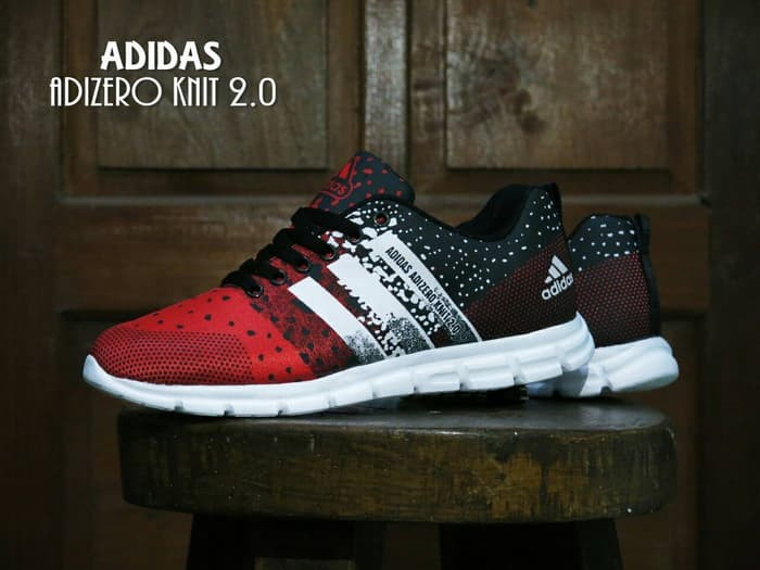 best service e3a2b 1fb5d Sepatu SPort Adidas Adizero Knit 2.0 Merah hitam  Casual  olahraga