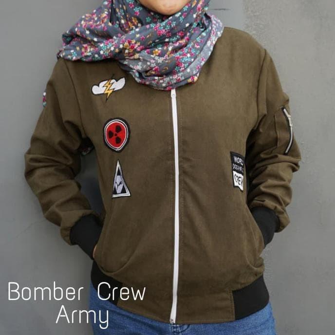 Jual Jaket Bomber Ladies Crew Army - Hijau, M