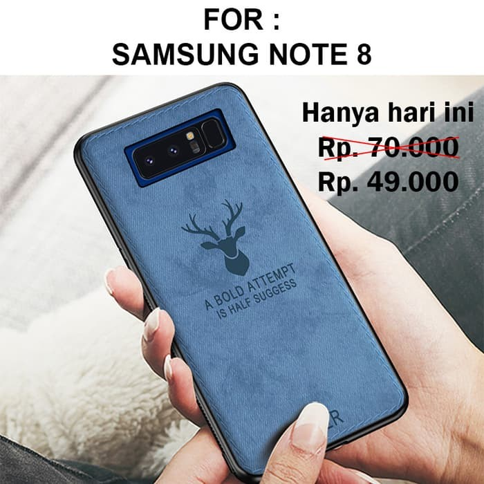 Foto Produk Case Samsung Note 8 softcase casing back cover leather tpu slim DEER - Black dari Case Pedia