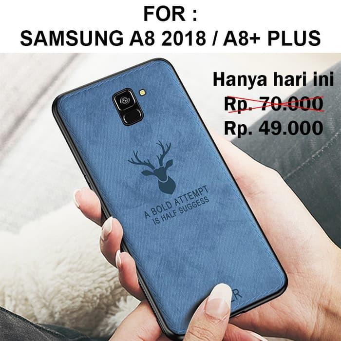 Foto Produk Case Samsung A8 - A8 Plus 2018 softcase casing back cover leather DEER - A8 Plus, Biru dari Case Pedia