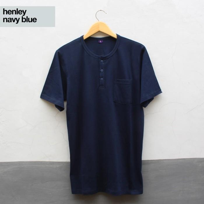 harga Distro kaos polos baju oblong henley navy blue pria wanita cewe cowo Tokopedia.com