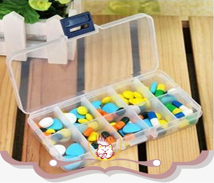 Foto Produk Kotak Plastik Tempat Obat 10 Sekat Kotak Manik Mote Kancing Serbaguna dari Laris49