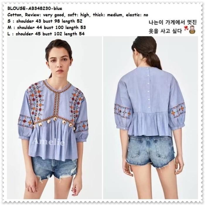 ... harga Baju atasan wanita boho bohemian blouse korea import ab348230  blue Tokopedia.com 76cd55712a