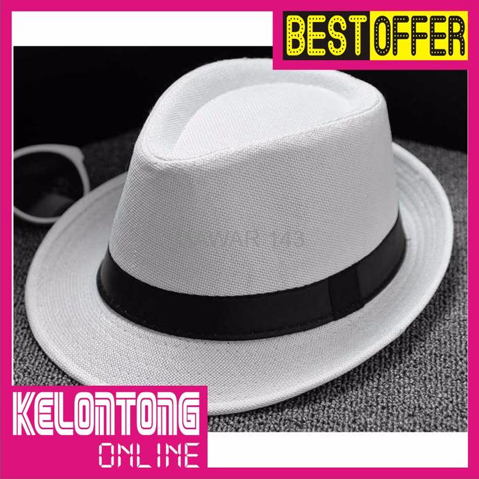 Palight Solidcolor Linen Jazz Anak Topi Topi Fedora Hitam - Daftar ... 7752857b9d