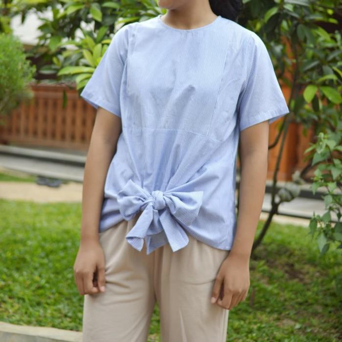 Atasan / Baju Menyusui - Vita Top Stripe Blue - Biru