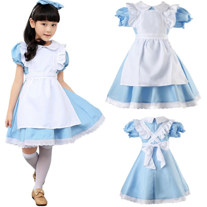 4 Size Alice In Wonderland Costume Cosplay Women Maid Fancy Dress Lolita Girls