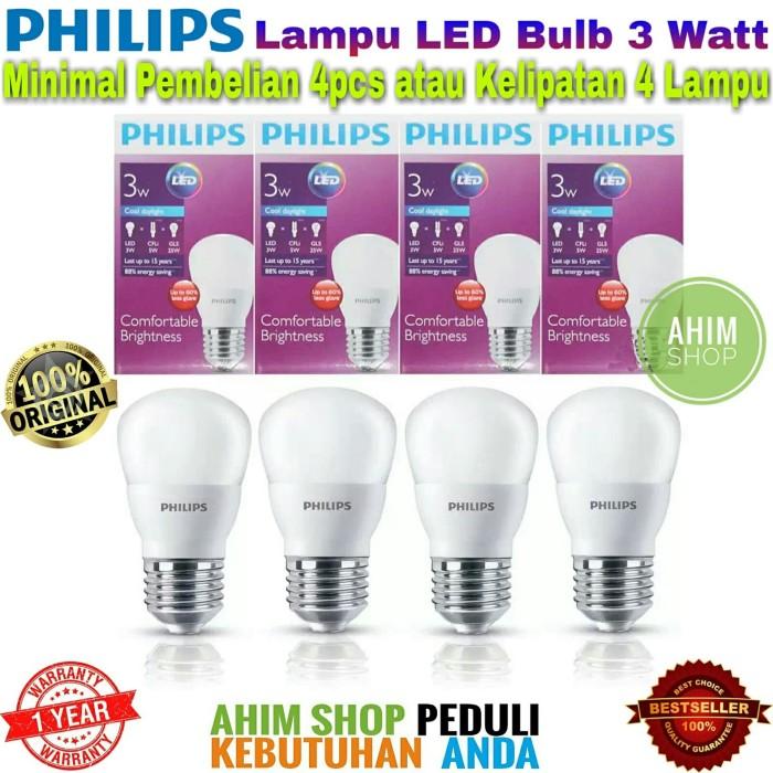 PHILIPS Lampu Led Bulb 3 Watt 3W 3Wat 3 W Putih Paket 4 Pcs Ahim Shop