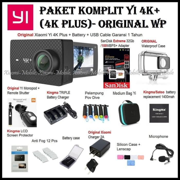 Paket Komplit Xiaomi Yi 4K Plus (4K ) Action Camera Original Monopod